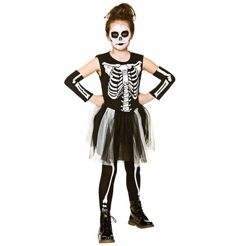 Childrens Girls Halloween Skelebones Costume for Trick Or Treat Fancy Dress